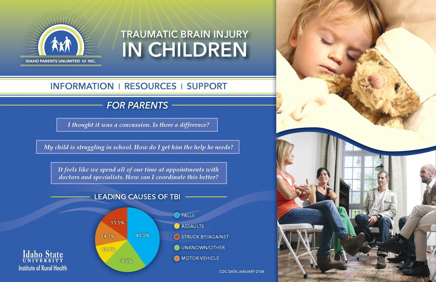 An image showing information about traumatic brain injury causes